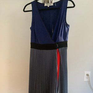 DVF Colorblock Pleated Evening Gown NWOT